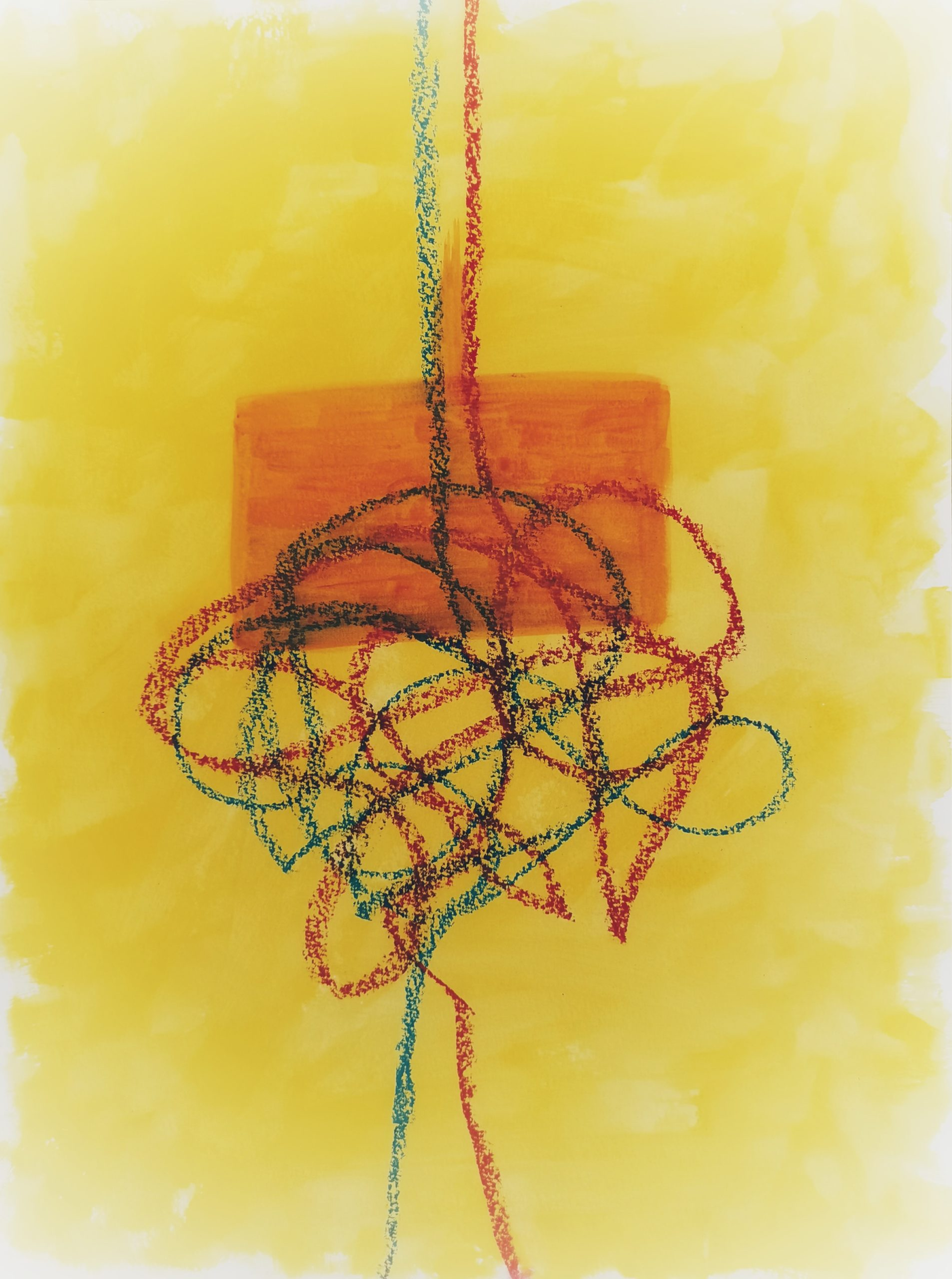 zwei Striche laufen auf gelbem Hintergrund von unten nach oben, verschwimmen in einem Knoten, darauf ist ein oranges Viereck gesetzt, aus dem die Striche wieder gelöst nebeneinander weiterlaufen