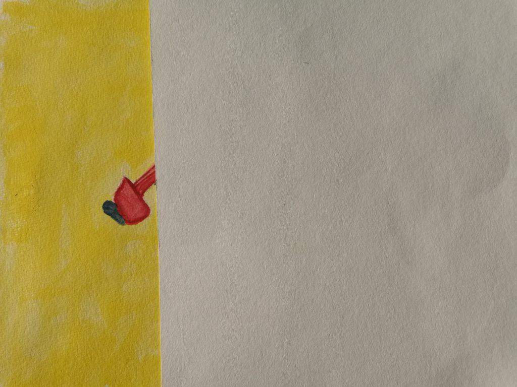 Bild mit gelbem Hintergrund und einem roten Fleck - zwei Drittel sind weiß abgedeckt